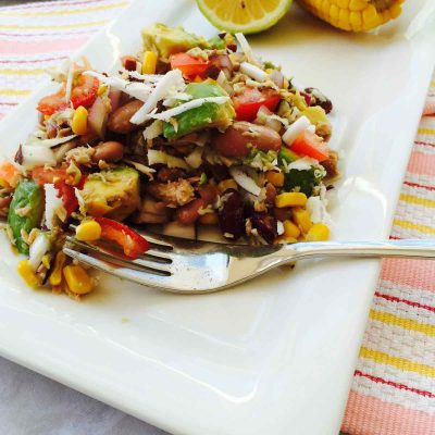 Kidney beans, avocado and coconut salad