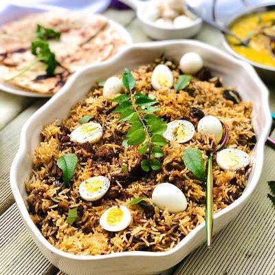 Superb Lamb Biryani with Quail Eggs in a White Pot