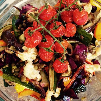 Lentil and roast vegetables salad