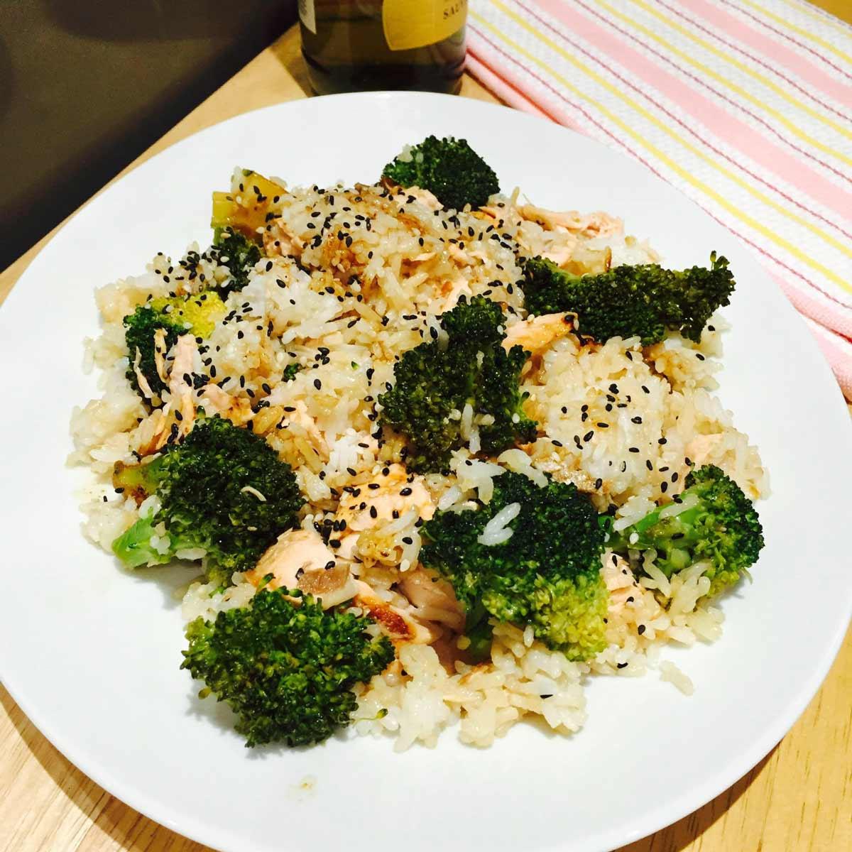A mess of salmon, rice and broccoli
