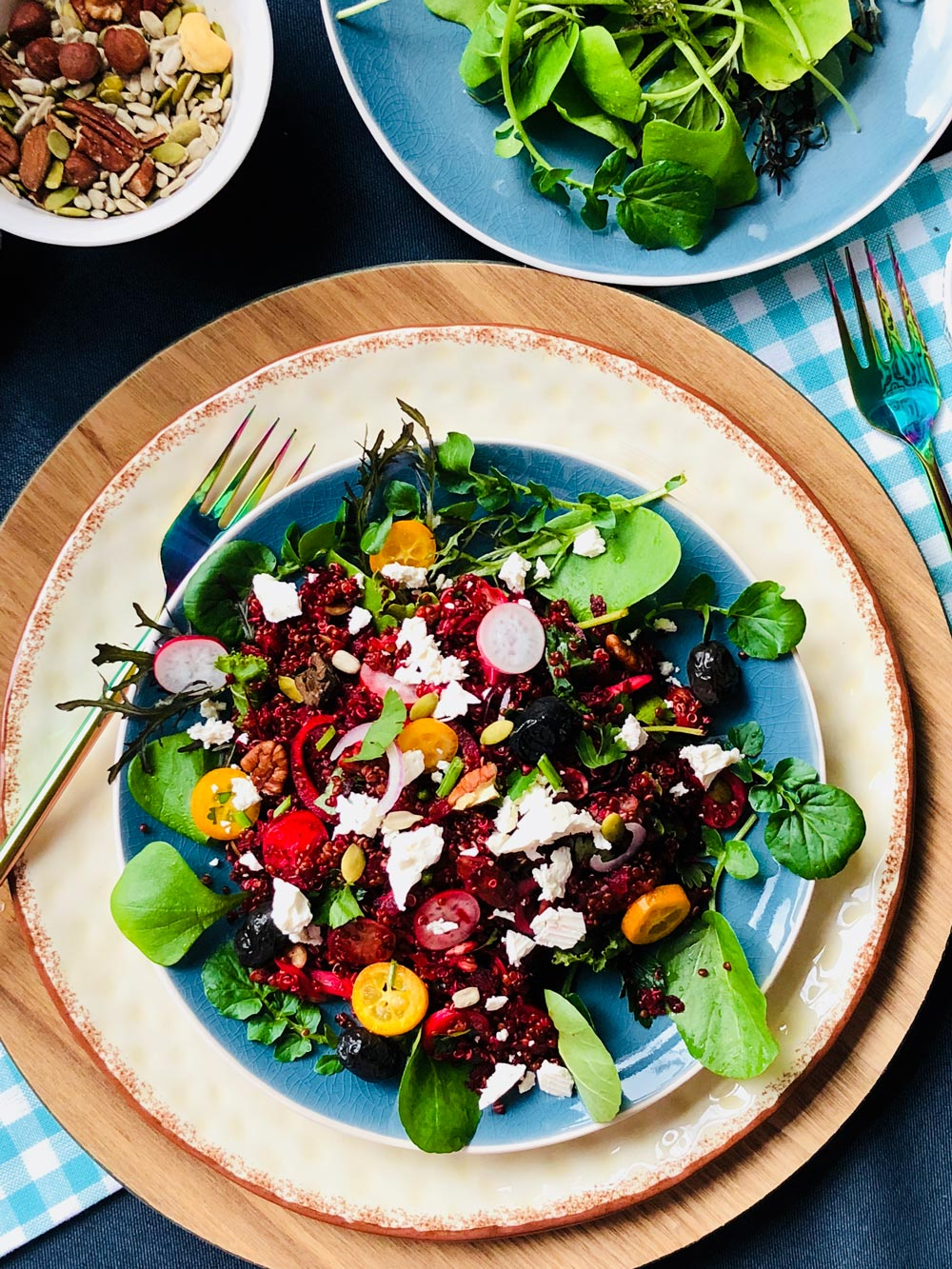 Red quinoa with beets, olives, red onion and feta salad