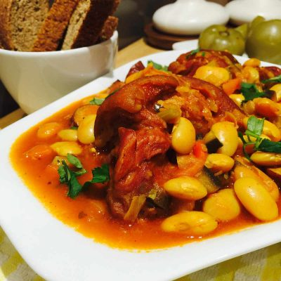 Smoked pork joint, sausages and butter beans stew