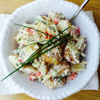 This potato, cucumber and garlic salad is an adventurous salad recipe, and you can get creative with the ingredients.