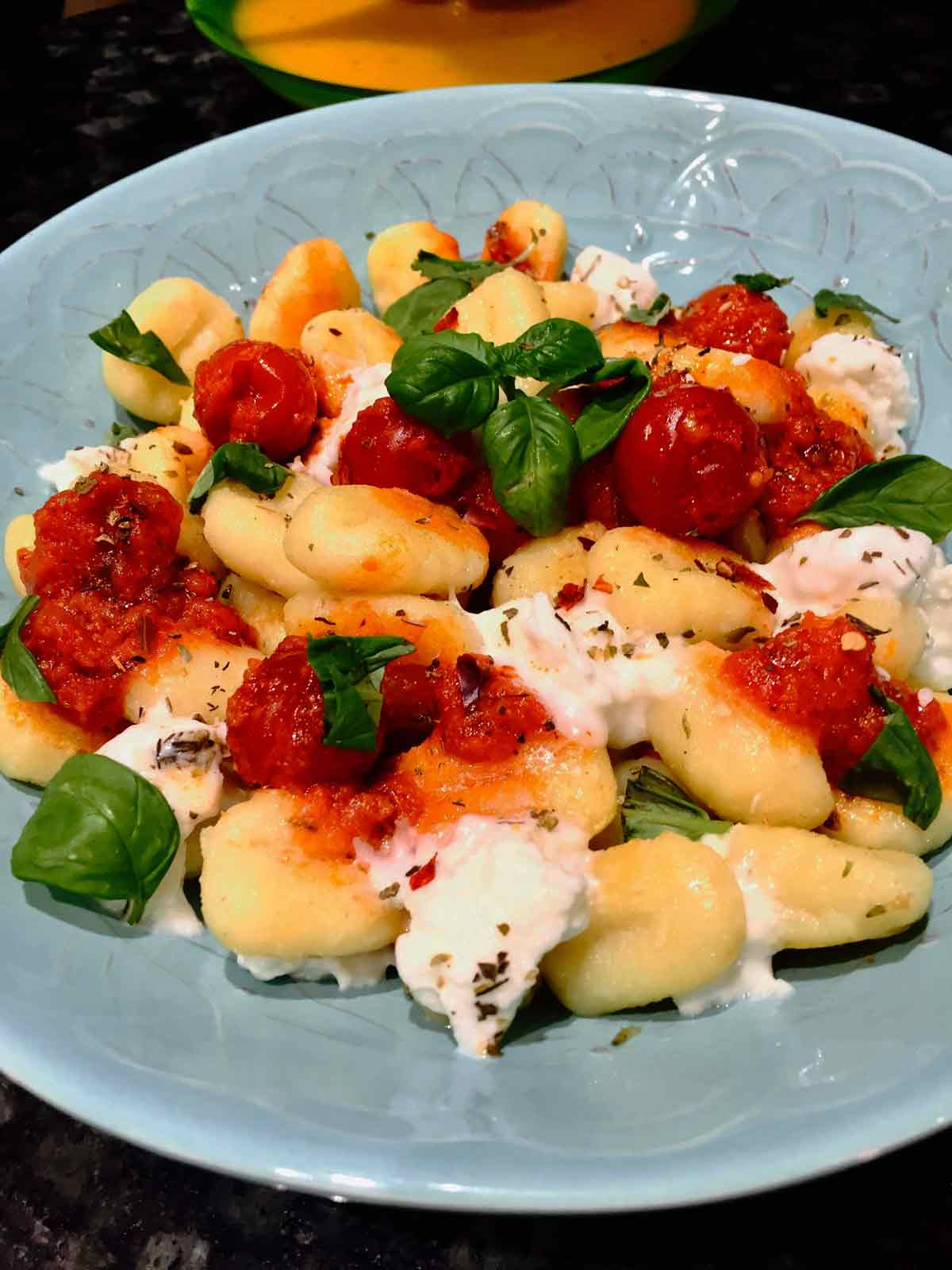 Gnocchi With Buffalo Mozzarella And Whole Cherry Tomatoes Sauce