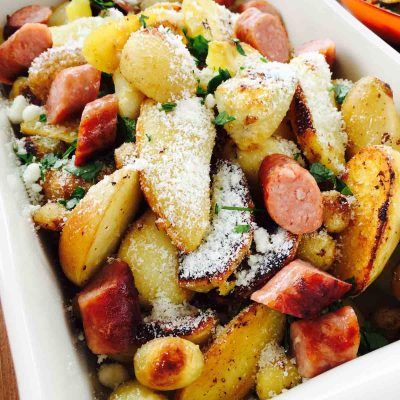 Potato, sausage and parmesan cheese bake