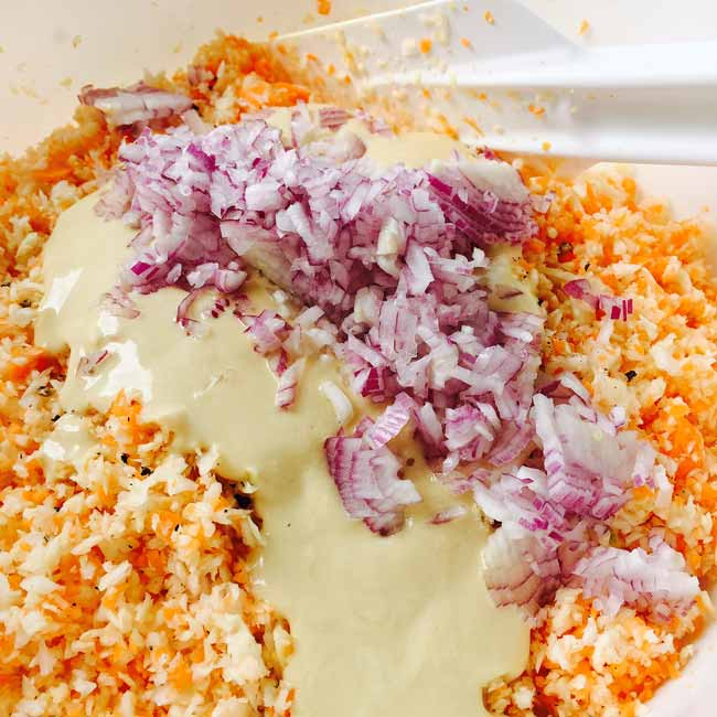 Preparing the coleslaw