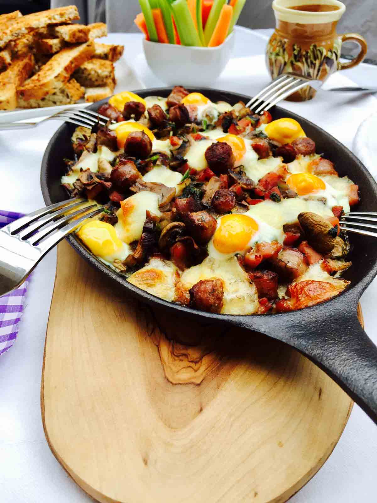 Quail Eggs Mushrooms And Bacon Breakfast