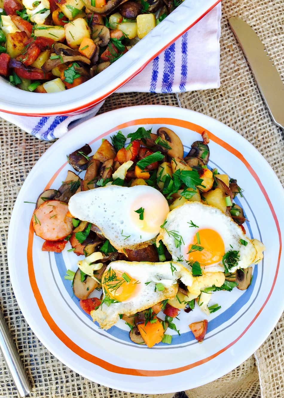 quail eggs, potato and mushrooms plate
