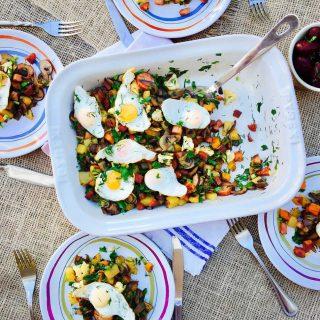 Quail eggs, potato and mushrooms