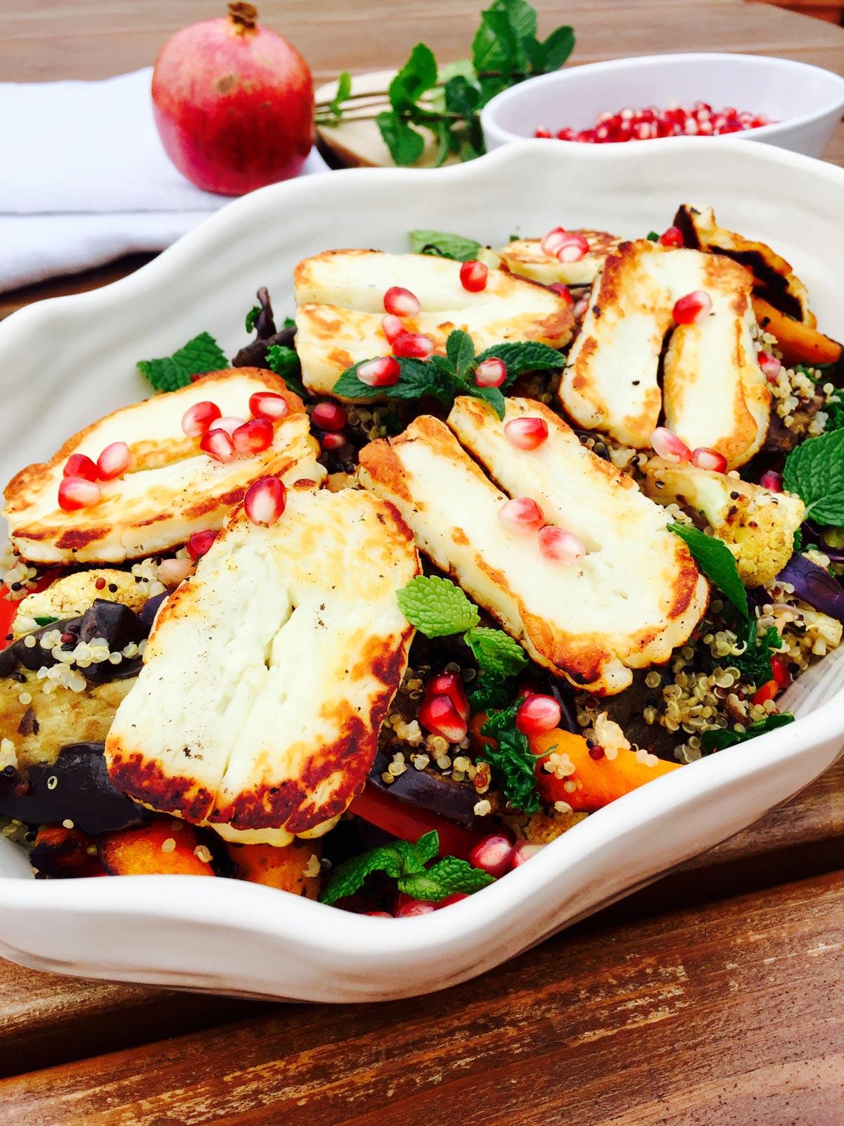 Quinoa, roast vegetables, halloumi cheese zaatar and pomegranate salad