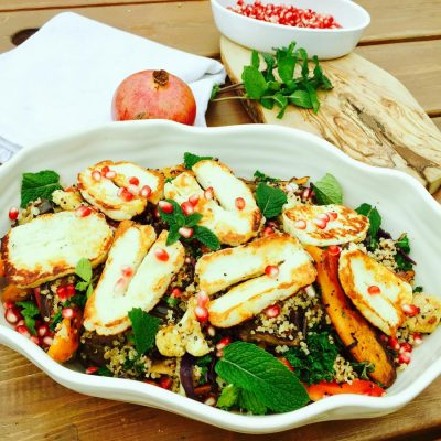 Quinoa, roast vegetables, halloumi cheese zaatar and pomegranate salad