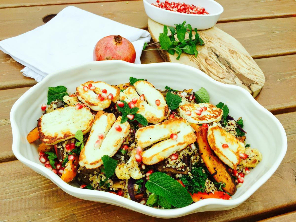 Quinoa, roast vegetables, halloumi cheese zaatar pomegranate salad