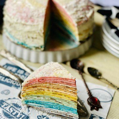 Easy Rainbow Crepe Cake