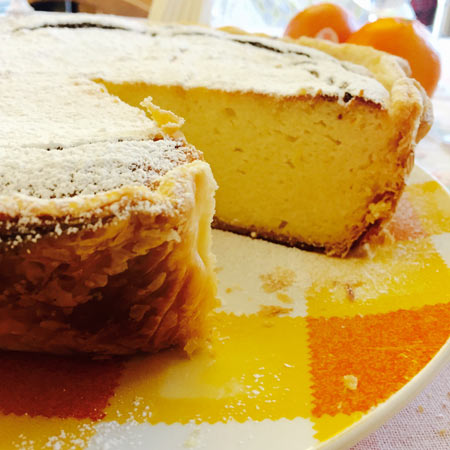 Ricottacheese & coconut cake, sliced