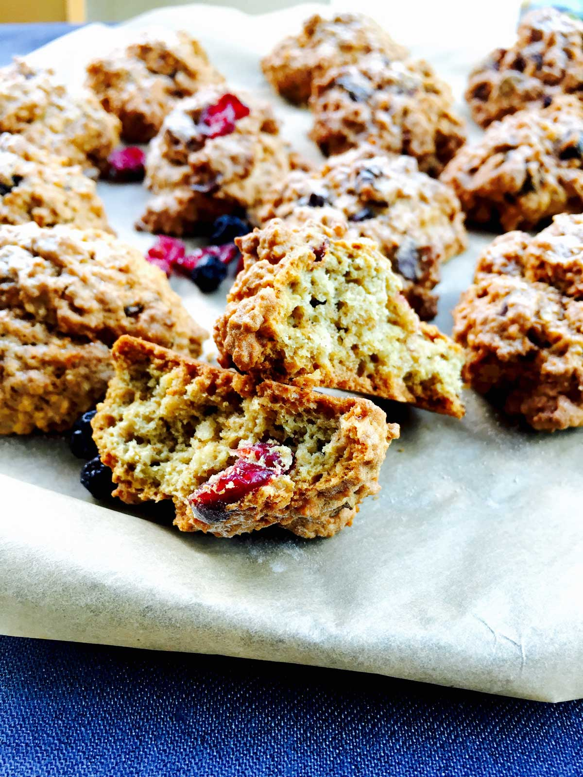 flour and dry berries healthy cookies