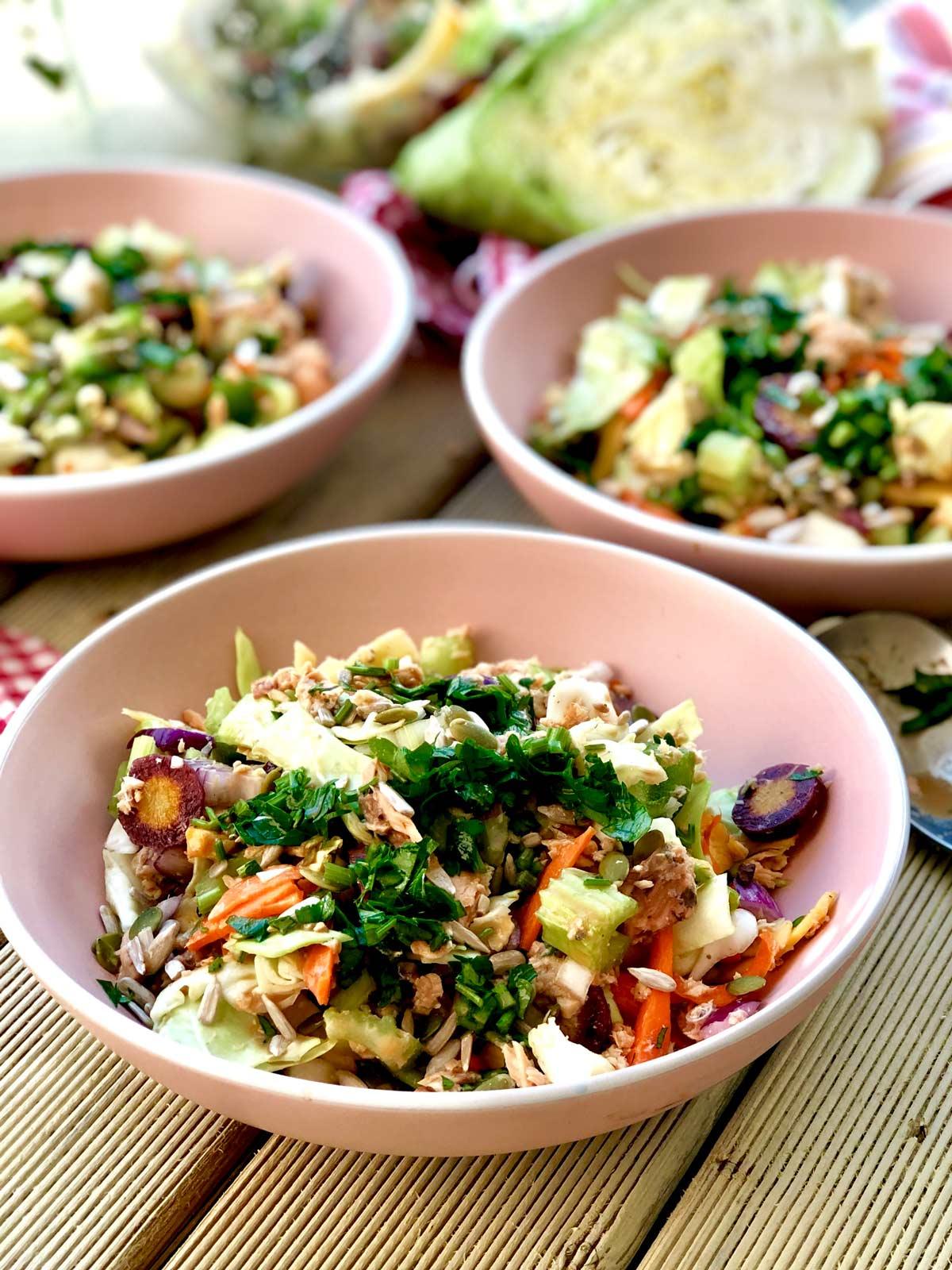 salmon crudités salad with coconut blossom nectar and umami salt vinaigrette