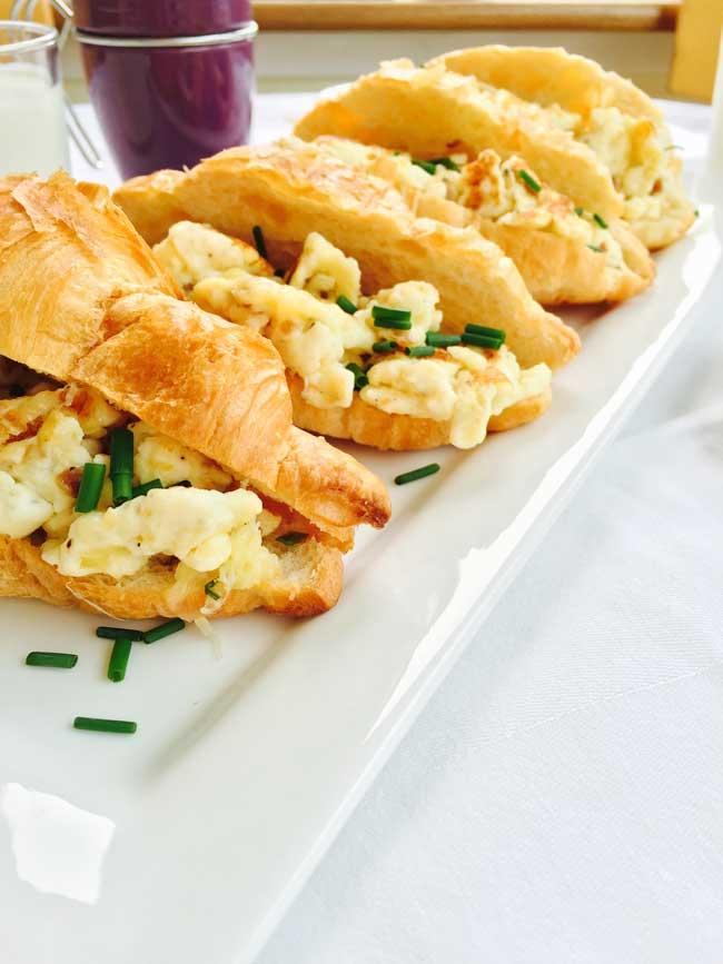 3 scrambled egg croissants