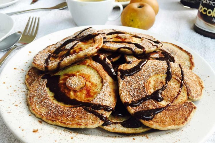 Simple apple pancakes, covered in syrup