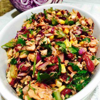 "A hefty bowl of delicious ""skinny"" tuna salad."