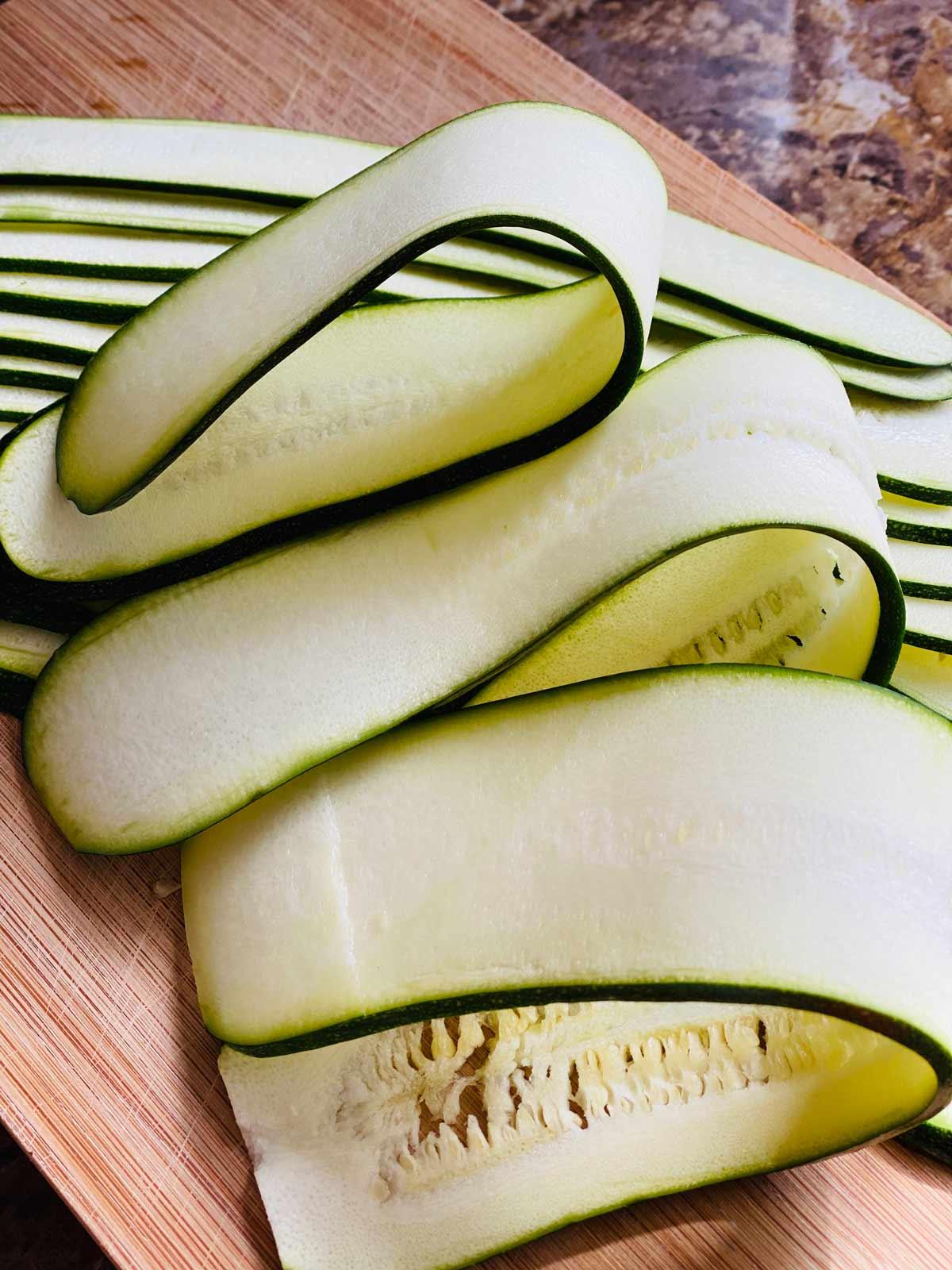sliced zucchini for enchiladas