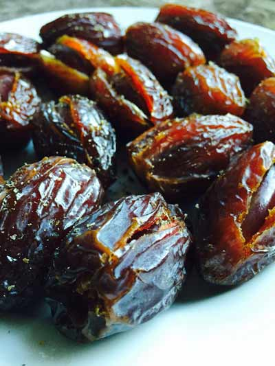 Medjoul dates, cut up in the middle...
