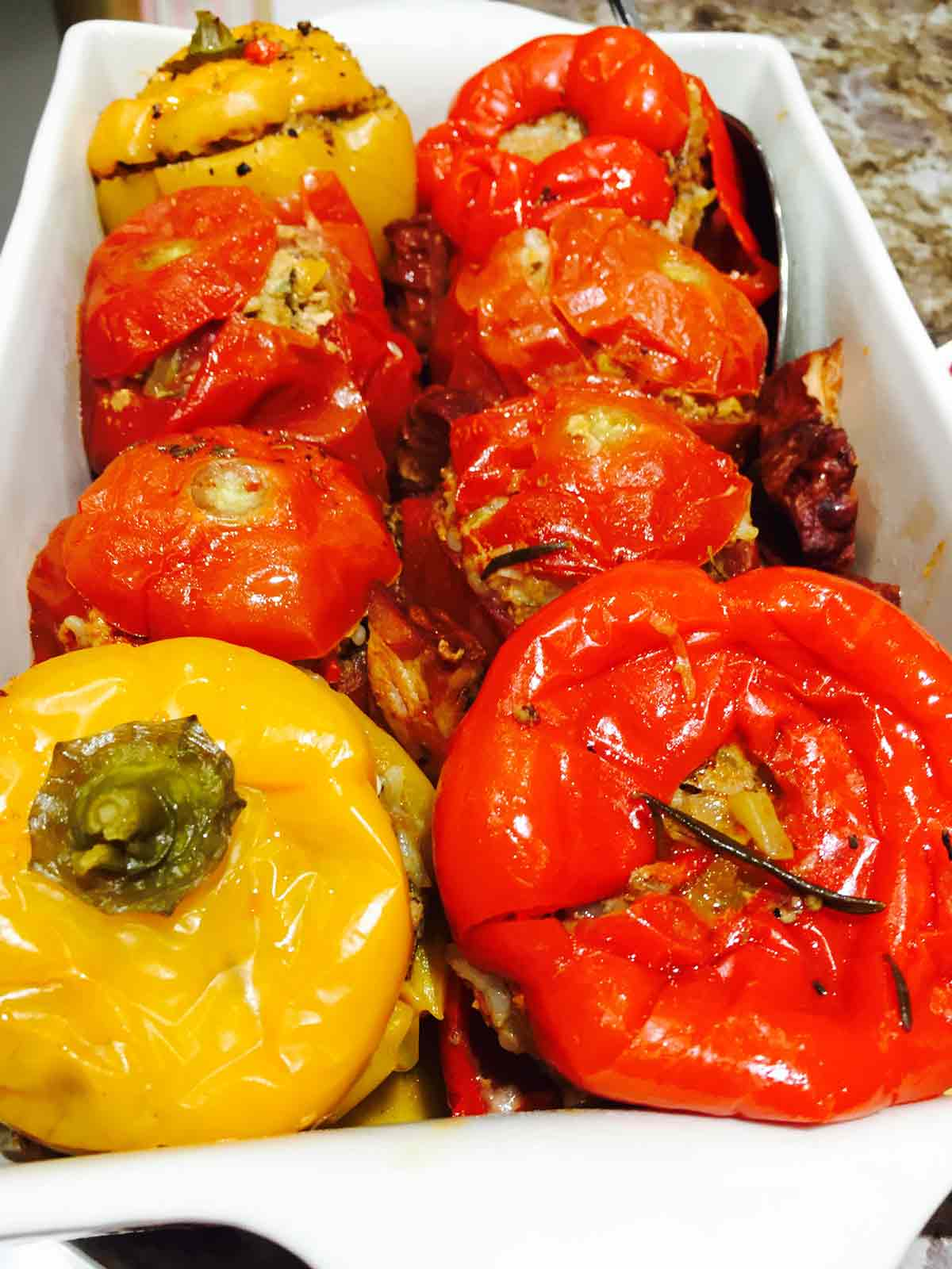Peppers are so perfect for stuffing! Try these stuffed peppers and tomatoes, with exquisite taste straight from the oven.