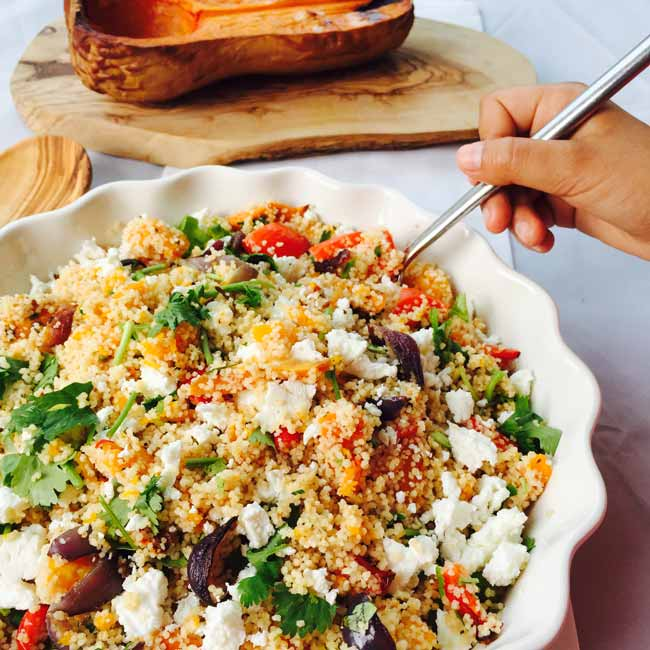 Tasting a bit of feta whole meal couscous