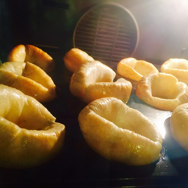 Yorkshire puds inflating in the oven